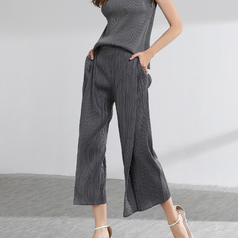 LANMREM 2019 Spring Summer Pants For Women Fashon New Patchwork Directly Pleated Trousers Casual All-match Elasic Bottoms YH306