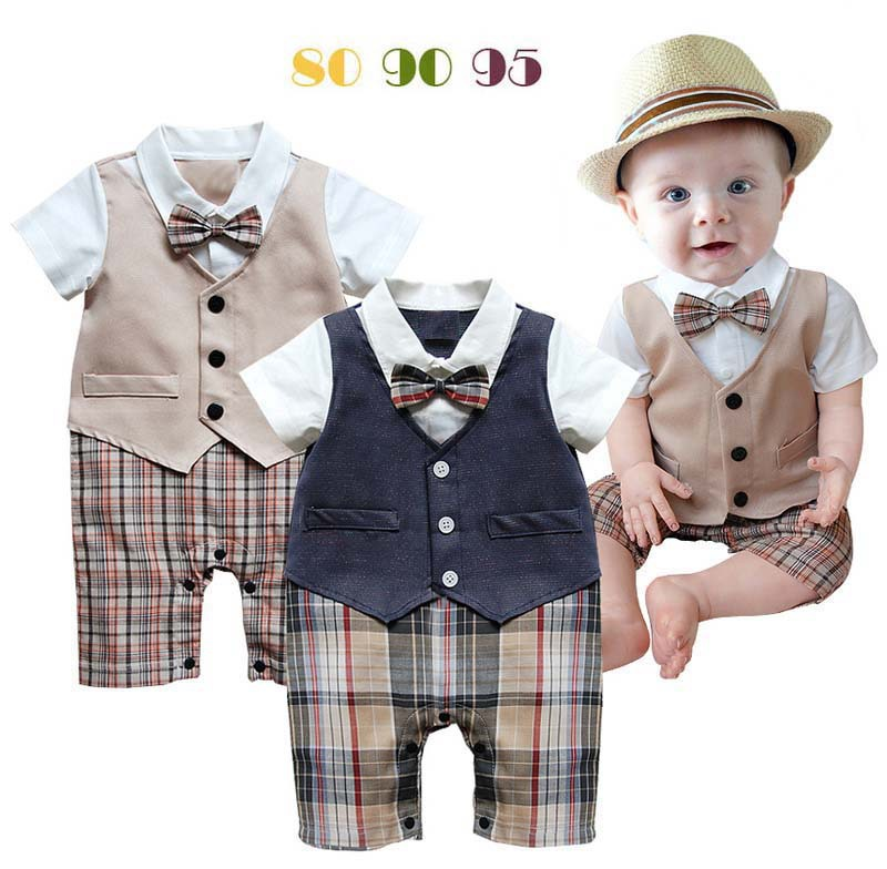 infant wedding suit baby boy toddler 2 colors khaki and dark blue plaid bow tie vest gentleman jumpsuit birthday clothing
