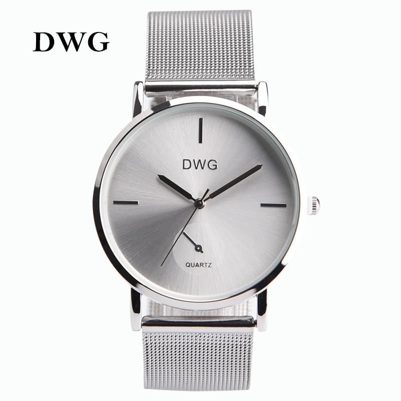 DWG Brand Colors Women Quartz Silver Watch Metal Bracelet Wrist Watches Analog Ladies Dress Hand Clock