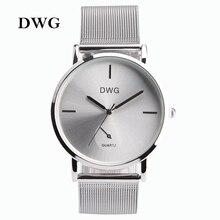 DWG de Colores de la Marca Mujeres de Cuarzo Reloj de Plata del Metal de la Pulsera Relojes Analógicos Vestido de Las Señoras Mano Reloj de Plata Reloj Montre Femme