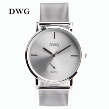 DWG Brand Colors Women Quartz Silver Watch Metal Bracelet Wrist Watches Analog Ladies Dress Hand Clock Silver Watch Montre Femme