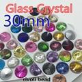 wholesale Crystal Fancy Stone Crystal  Glass Rivoli Beads 30mm 30pcs Free shipping Mix colour