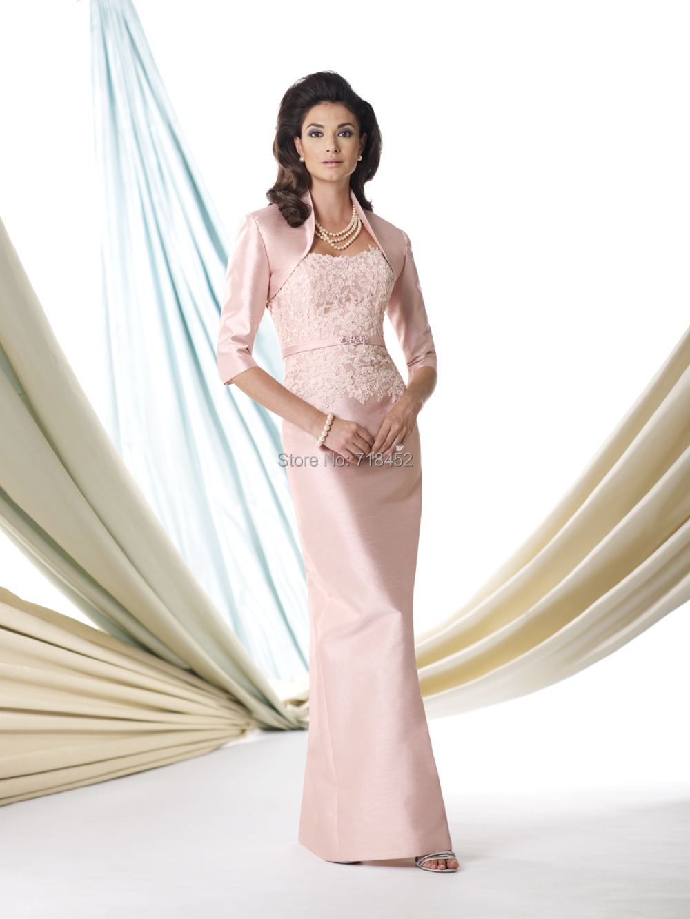 5a95fe679d0 Elegant Rose Pink Mother of Bride Dress with Jacket Taffeta Three Quarter  Sleeve Wedding Party Pant Suits Free Shipping MD519-in Mother of the Bride  Dresses ...