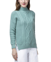 top grade 100%goat cashmere twisted knit women boutique thick pullover sweater half high collar open hem S 2XL 3color