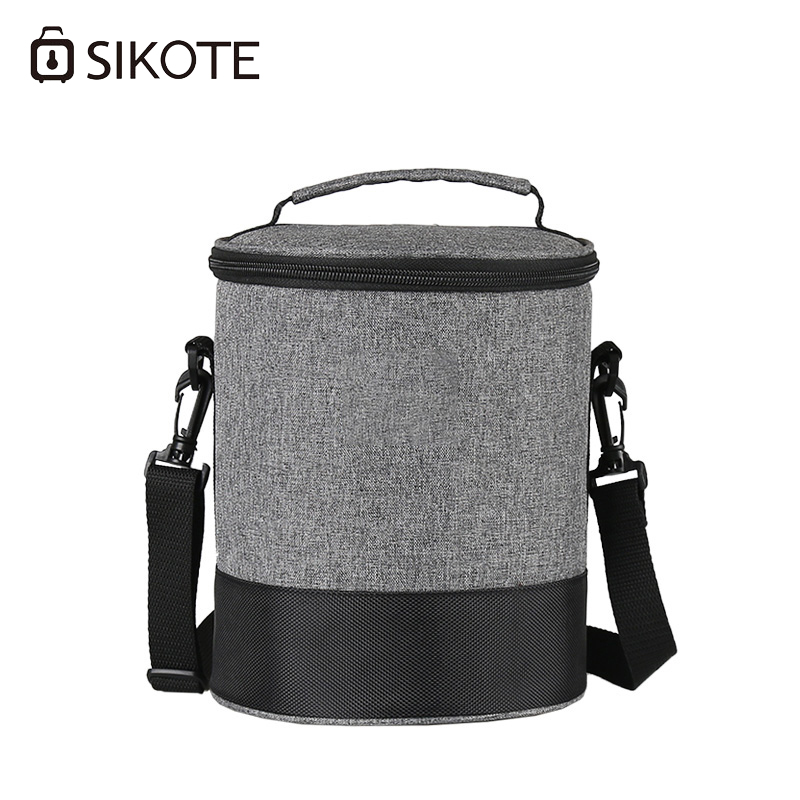 SIKOTE Portable Lunch Box Waterproof Picnic Storage Thermal Insulated Fresh Keep Cooler Bag Round Lunch Bags