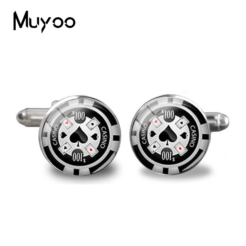 2018 New Poker Cufflinks Playing Cards Cuff  Poker Personalized Groom Gift Silver Color Men Jewelry Glass Dome Cufflink Handmade