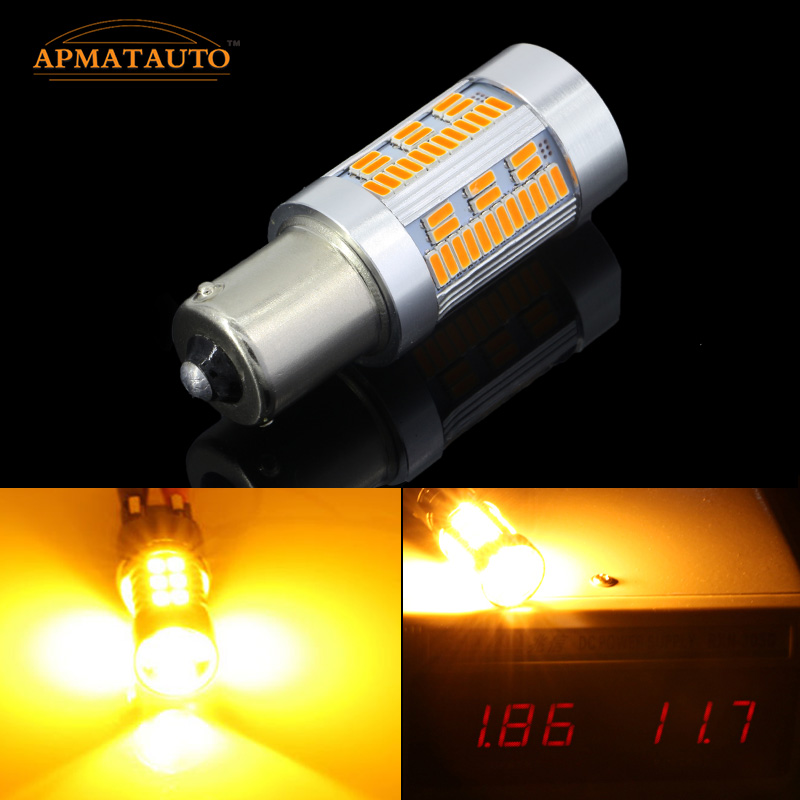 2pcs No Resistor Required 105PCS Chips Amber Yellow  LED 1156 7506 7528 BA15s P21W LED Bulbs  Turn Signal Lights(No Hyper Flash) 2pcs no resistor required amber yellow cob led bau15s 7507 py21w 1156py led bulbs for front turn signal lights no hyper flash