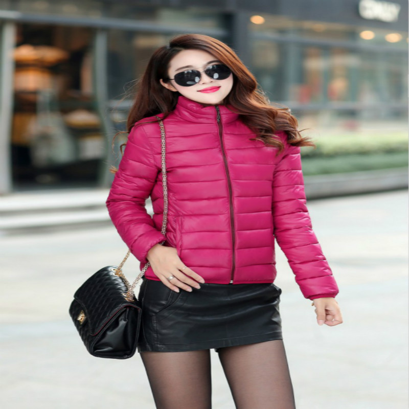 Women Spring Autumn Jacket Short   Parkas   Light Jacket Woman   Parkas   Women Plus Sizes Stand Collar Slim Women Clothing Winter Coats