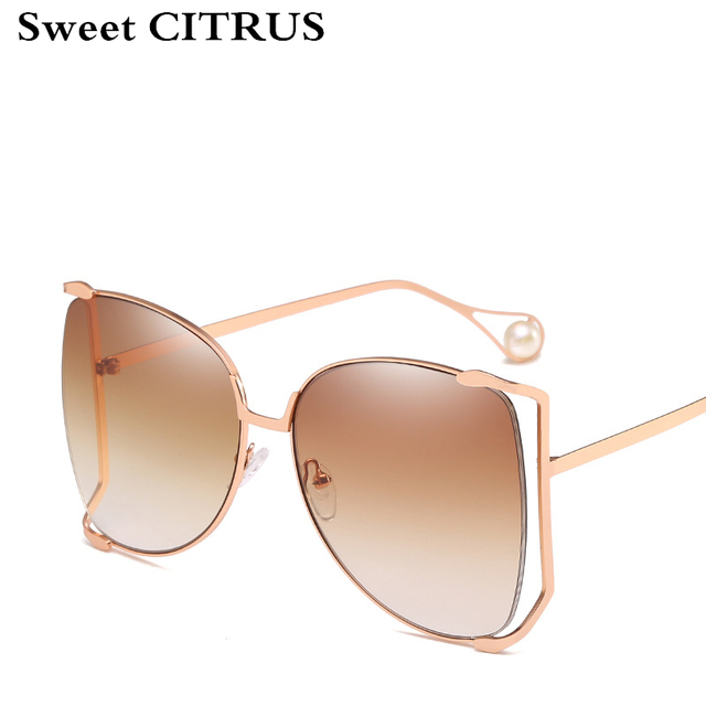 d7a84e2e91 Sweet CITRUS Oversized Fashion Women Sun Glasses Brand Designer Metal Frame  Ladies Sunglasses UV400 Shade oculos