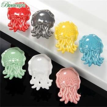 Newest Creative Octopus Sea Animal Ceramic Door Knob Kids Room Wardrobe Chest Of Drawers Dresser Pull Handle Button 1 pcs