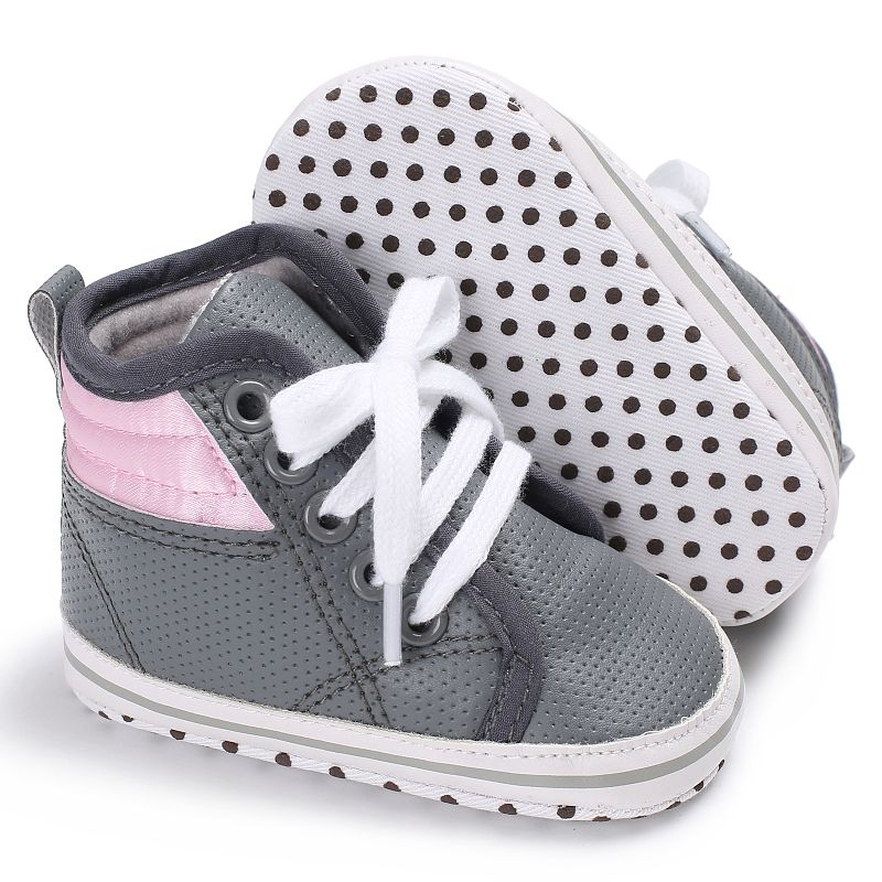 Lovely Baby Boys Spring Autumn Crib Bebe Kids High Top Ankle Infant Toddler First Walkers PU Leather Lace-Up Sneakers Shoes