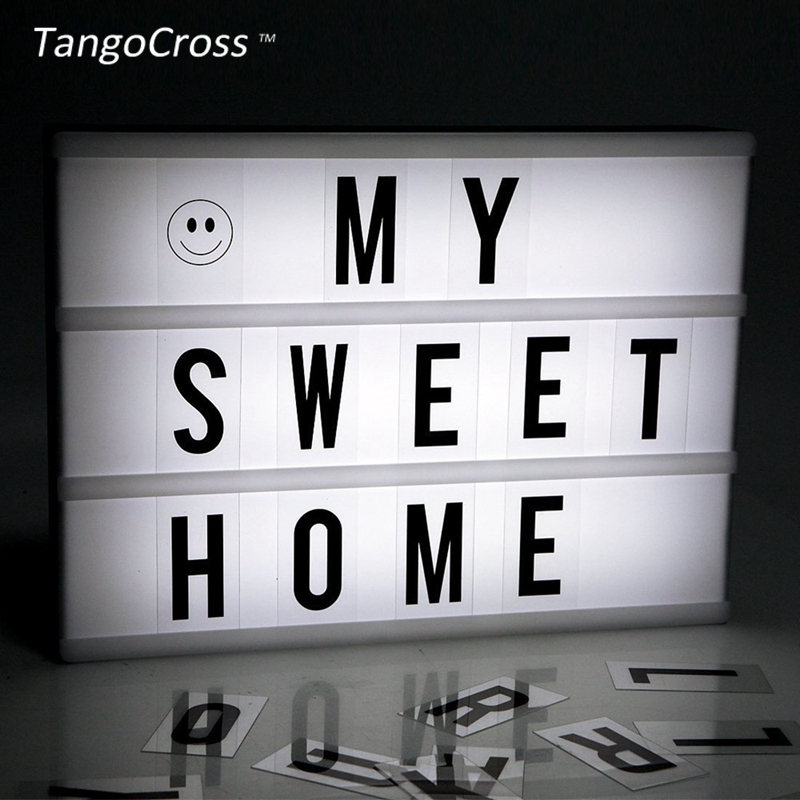 TangoCross Night Lights LED Cinema Light Box A4 Size with DIY Letters LED Lamp Cinematic Lightbox USB Battery Powered 2018 new led combination light box night lights lamp diy black and white letters cards usb port powered cinema lightbox letters