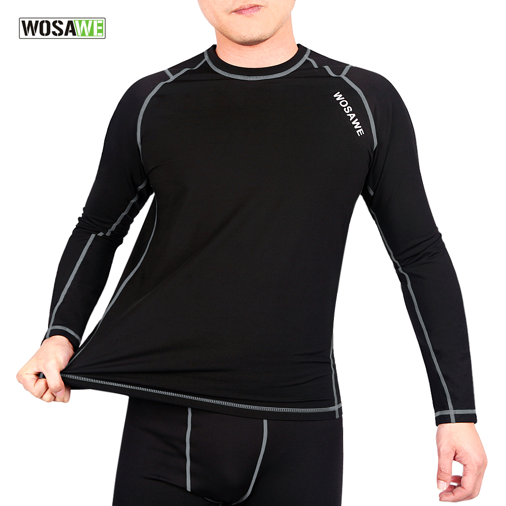 WOSAWE Cycling Thermal Base Layer Undergarment warm fleece Autumn Winter stretch underwear Sports Elastic Breathable Jerseys