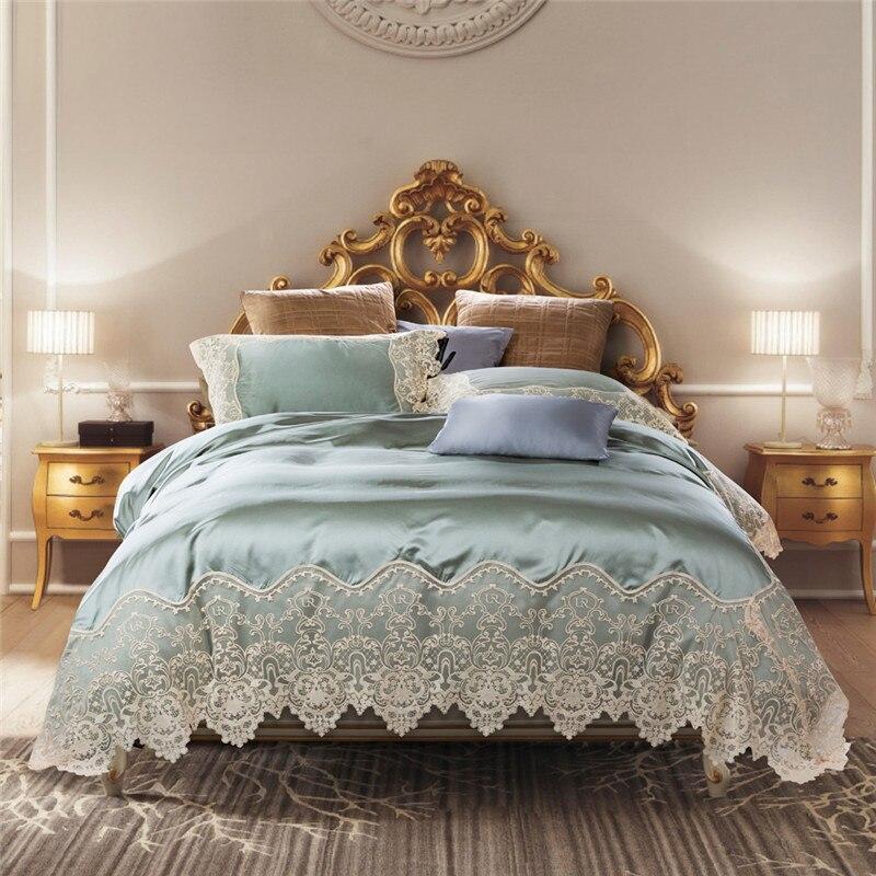 Vert clair Beige luxe français Flair dentelle broderie soie coton mariage literie ensemble housse de couette linge de lit drap taie d'oreiller