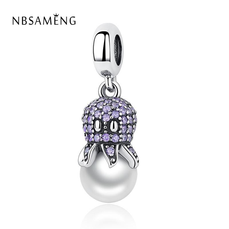925 Sterling Silver Bead Purple CZ Crystal Sea Octopus Pendant Hanging Fit Original Pandora Bracelets DIY Charms