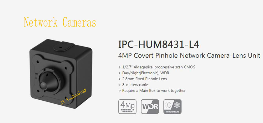 In Stock Dahua Free Shipping Security CCTV 4MP Covert Network Camera-Lens Unit without logo IPC-HUM8431-L4 free shipping 10pcs ad9850brs in stock