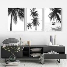 Черно белые пальмовые плакаты с деревом пляж холст живопись