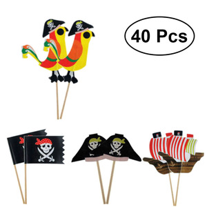 40pcs Topers Food-grade Pirate Theme Unique Design Party Decoration Cake Picks Ornamnets Cake Insert Card for Party Birthday(China)