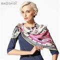 [Baoshidi] 16 m/m de espessura 100% mulheres de seda de cetim lenço, marca de luxo quadrado infinito xale protetor solar, puro lenço de seda para qualquer ocasião