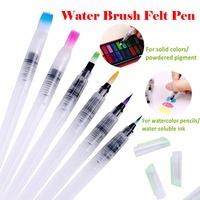 6 Pcs fine flat tip Watercolor paintbrush draw Solid Colors Water Brush Pen Assorted Brush Tips Watercolor Brushes Set