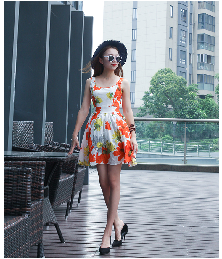Europe mode Vintage Hepburn tournesol impression col rond sans manches taille haute mince une camisole femme robe petit frais