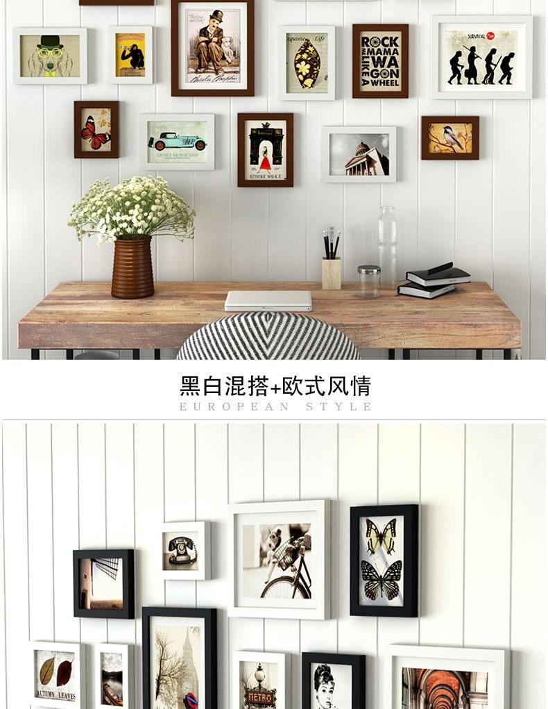 Moderno blanco y negro marcos de madera fijado para la decoración ...