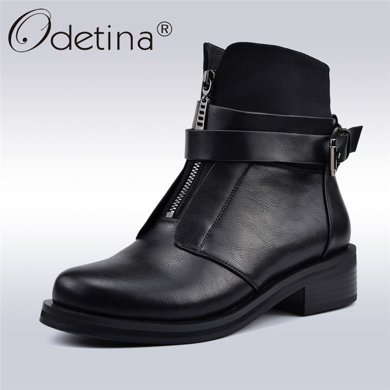 Odetina New Fashion Buckle Strap Ankle Boots For Women Chunky Heel Infront Zipper Patchwork Women Motorcycle Boots Autumn Winter все цены