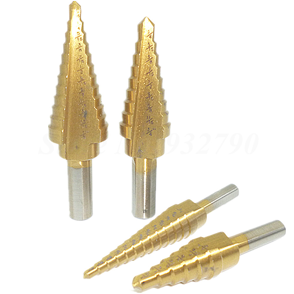 DrillForce,3 Piece HSS M2 Step Drill Bit Set with Metal Box,Hex Shank 28 Sizes