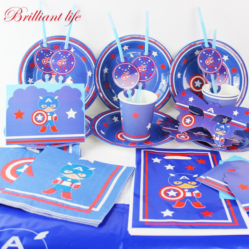 Captain America Theme 53pcs/lot Kid Birthday Party Paper Cup Plate Straw Blowout Banner Tablecover Wedding Tableware Supply
