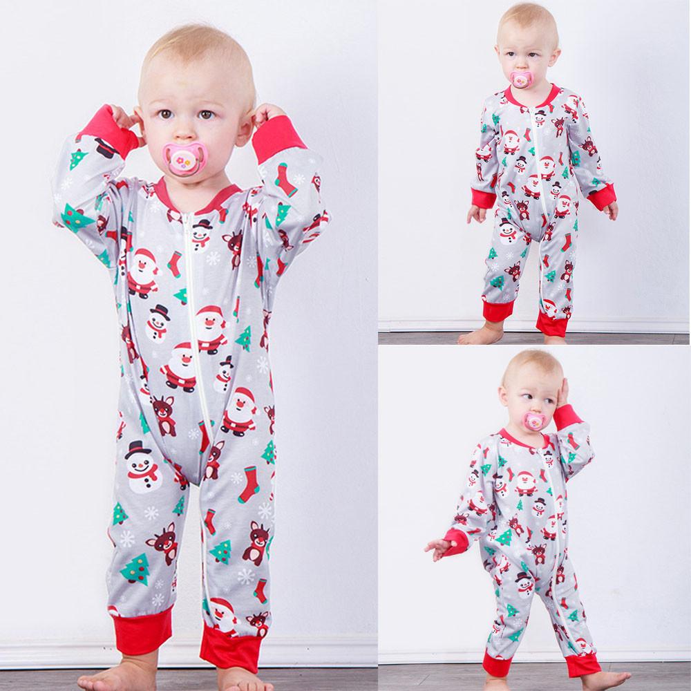 Infant Baby Boys Girls Christmas Long Sleeve Santa Print Jumpsuit ...