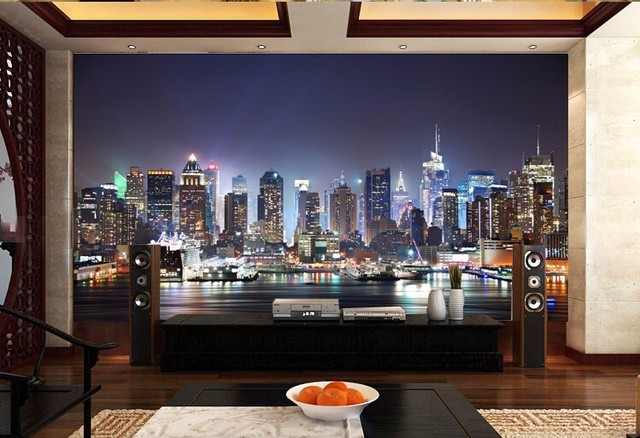 manhattan 3d photo new york city large mural night background