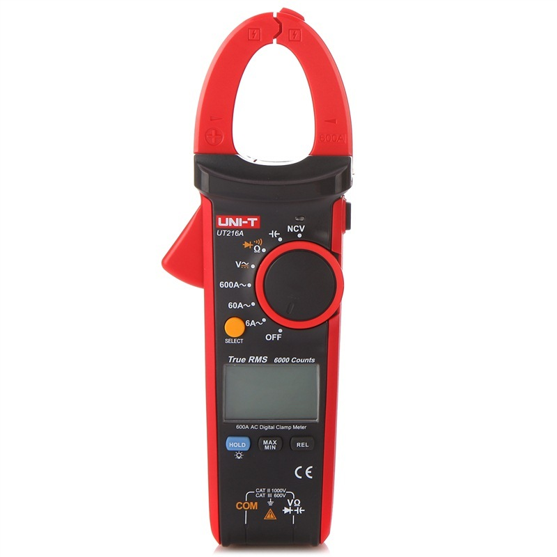UNI-T UT216A True RMS Digital Clamp Multimeter Digital Clamp Meter w/ NCV Capacitance AC/DC Voltage Current Ohm Test uni t ut216a auto range multimeter mini true rms digital clamp meter w ncv capacitance ac dc voltage current tongs ohm tester