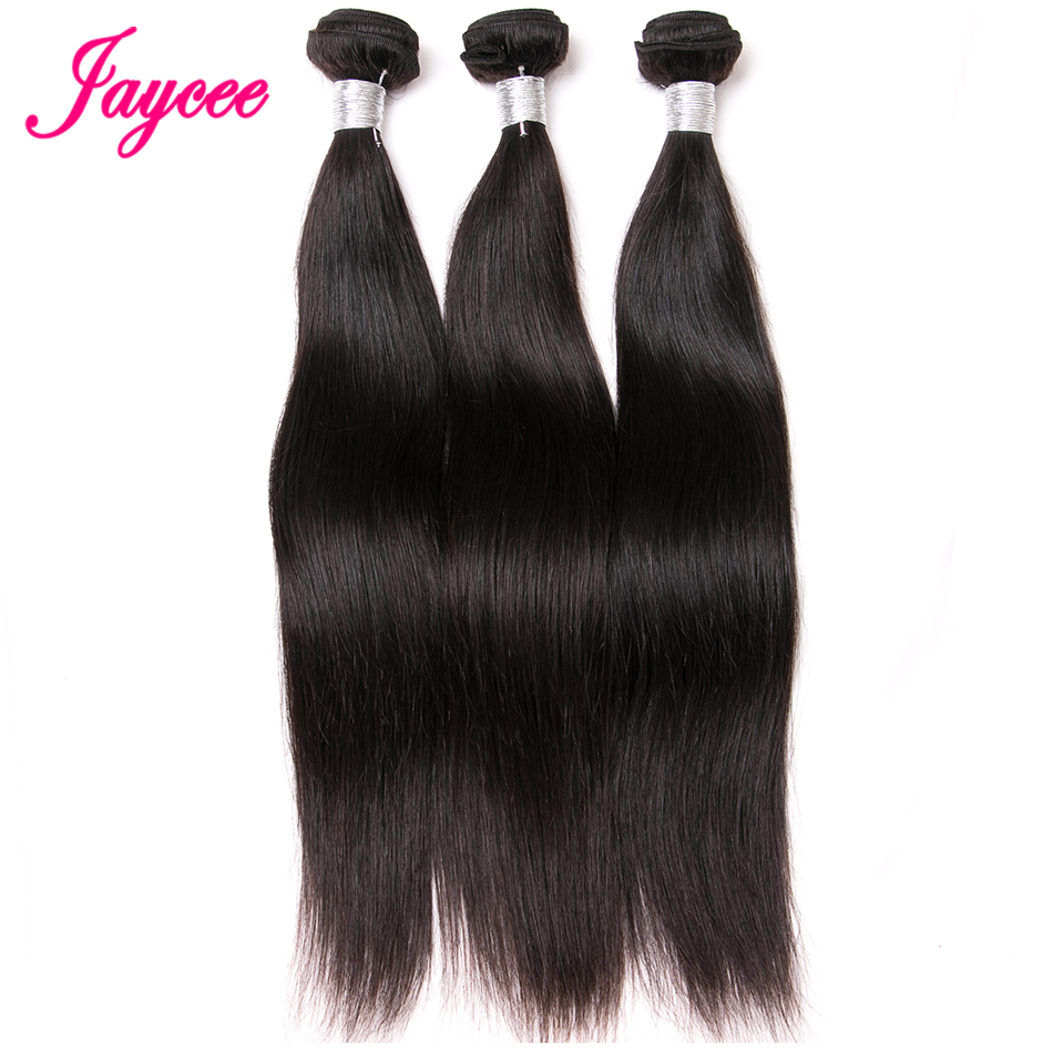 Jaycee Hair Peruvian Straight Wave Natural Color Remy Hair 100% Human Hair Weave Bundles Extension Suitable Dying All Colors