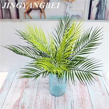 9 Head 52cm Artificial Palm Tree Green Leaf Plants Plastic Potted Bonsai Leaves Garden Home Wedding Table Ornaments Decoration