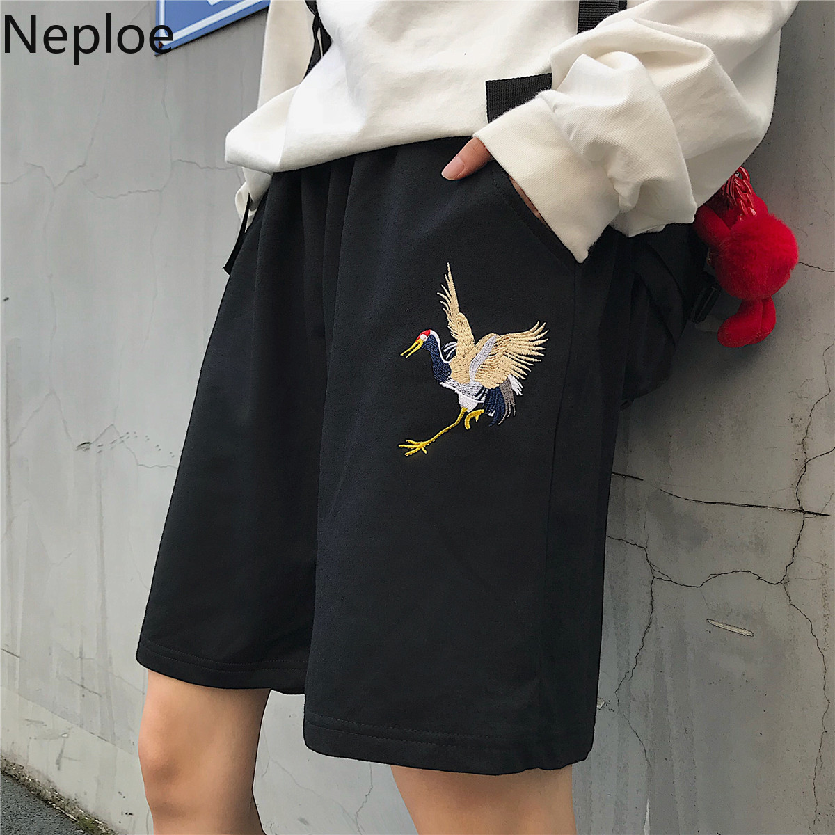 Neploe Harajuku Crane Embroidery Shorts Women Men Street Causal Bottoms 2019 Summer Stretch High Waist Wide Leg Shorts 53592(China)