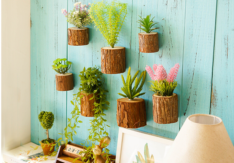Creative Simulation Potted Plant Modern Wall Mount Decoration Bonsai Living Room Decorative Ornaments