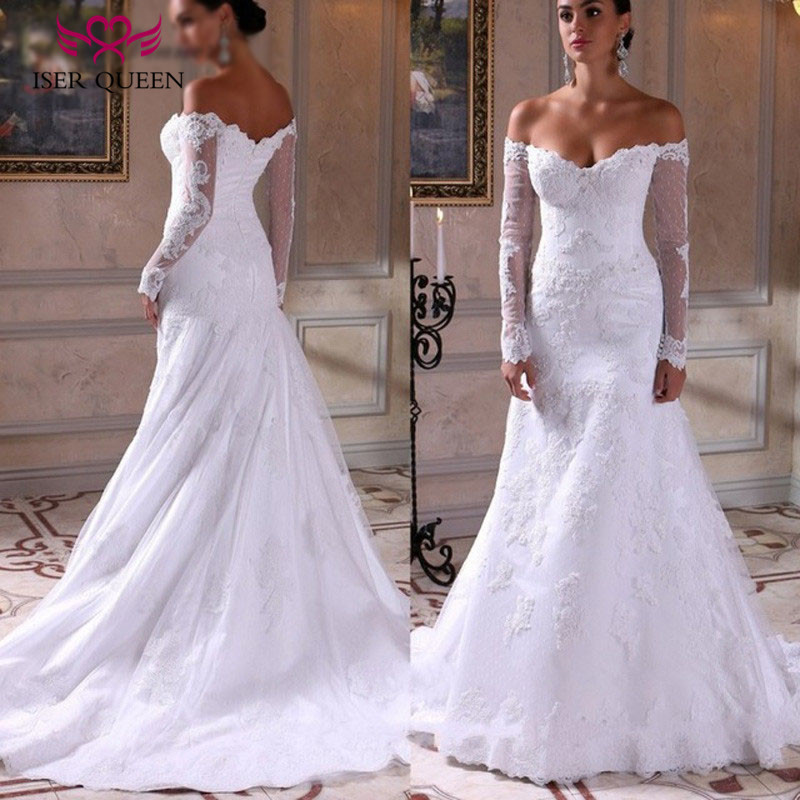 Lace Appliques Beading Court Train Marriage Wedding Dress Long Sleeve Vintage Pure White African Mermaid Wedding Dresses W0156