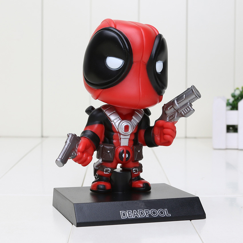 13.5cm Deadpool Figure Toy Wacky Wobbler Bobble Head PVC Action Figures toys Doll With Base