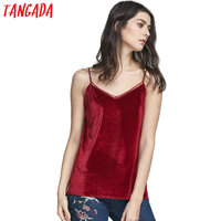 Tangada Korean Fashion Women Red Velvet Camis Tank Tops Shirts Sexy Mesh Patchwork Strap Sleeveless Backless V-Neck Cozy Brand