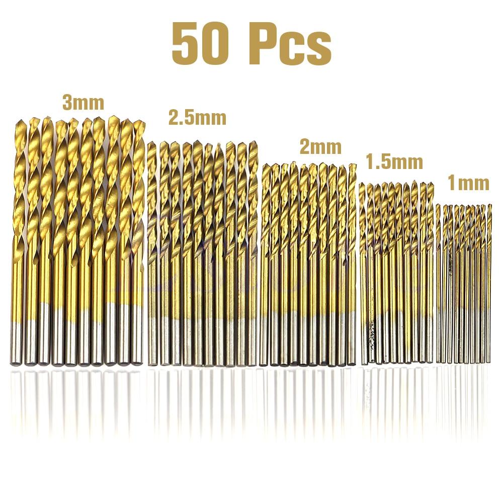 50Pcs 1/1.5/2.0/2.5/3mm Titanium Coated HSS Drill Bit Set Twist Drill Bit High Steel for Woodworking Plastic And Aluminum