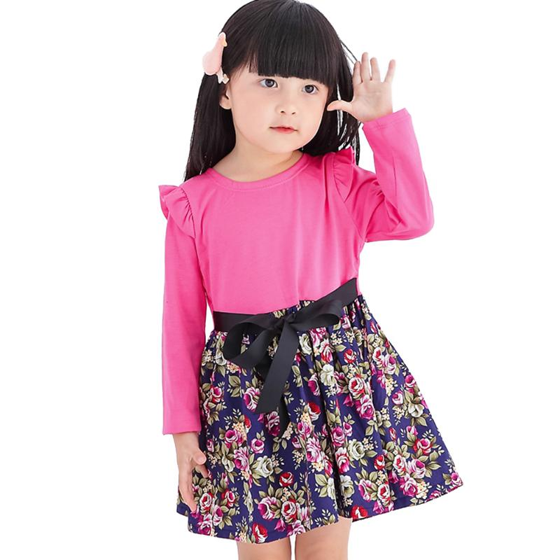 Winter Dress Girl Kids Long Sleeve Clothes Floral Print Lovely Dresses With Bow Tie Children Warm Cotton Soft Clothing 3-7Years комплект аксессуаров для волос lovely floral
