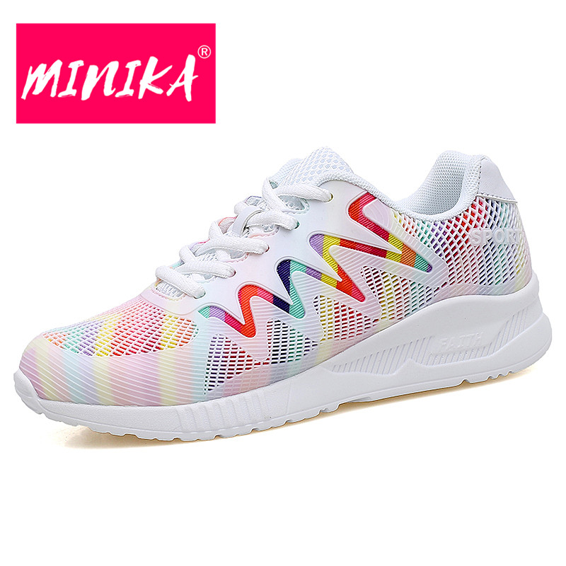 MINIKA New Fashion Breathable Shoes Women Mixed Color Lace-up Women Mesh Shoes Summer No-slip Wedges Light Sneakers for 35-40 breathable women hemp summer flat shoes eu 35 40 new arrival fashion outdoor style light
