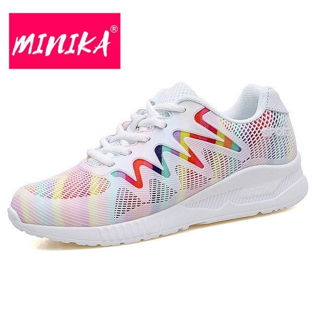 9219fc68b2 MINIKA Nova Moda Sapatos Respirável Mulheres de Várias Cores Lace-up Mulheres  Sapatos de Malha
