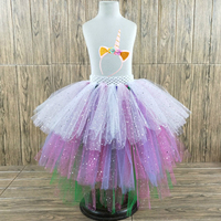 POSH DREAM Sparkly Tulle Mixed Unicorn Tutu Skirts with Headband Easter Colorful Fluffy Kids Girls Tutu Skirt for Cosplay Party