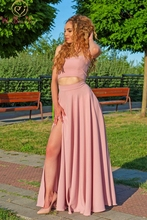 Pink Chiffon Evening Dress Simple Two Pieces A-line Sweetheart Neck Floor Length Sexy High Split Cheap Spaghetti Strap Prom Gown