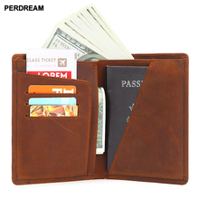 2018 new simple retro passport bag crazy horse leather short wallet solid color document package