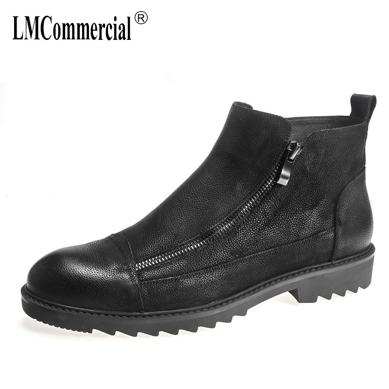 British retro men's shoes in autumn and winter, Genuine leather men's Chelsea boots, Martin boots men all-match cowhide 2017 new autumn winter british retro men shoes zipper leather breathable sneaker fashion boots men casual shoes handmade