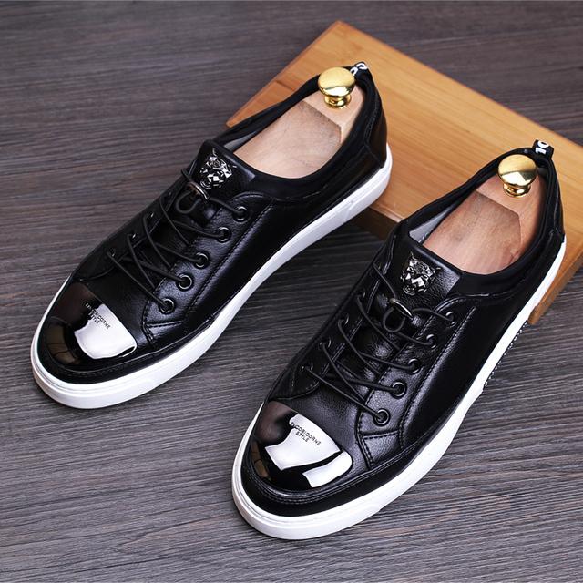 Diseñador italiano mens ocasionales respirables zapatos de plataforma plana de cuero genuino oxfords de zapatos de encaje hasta zapatos hombre chaussure homme