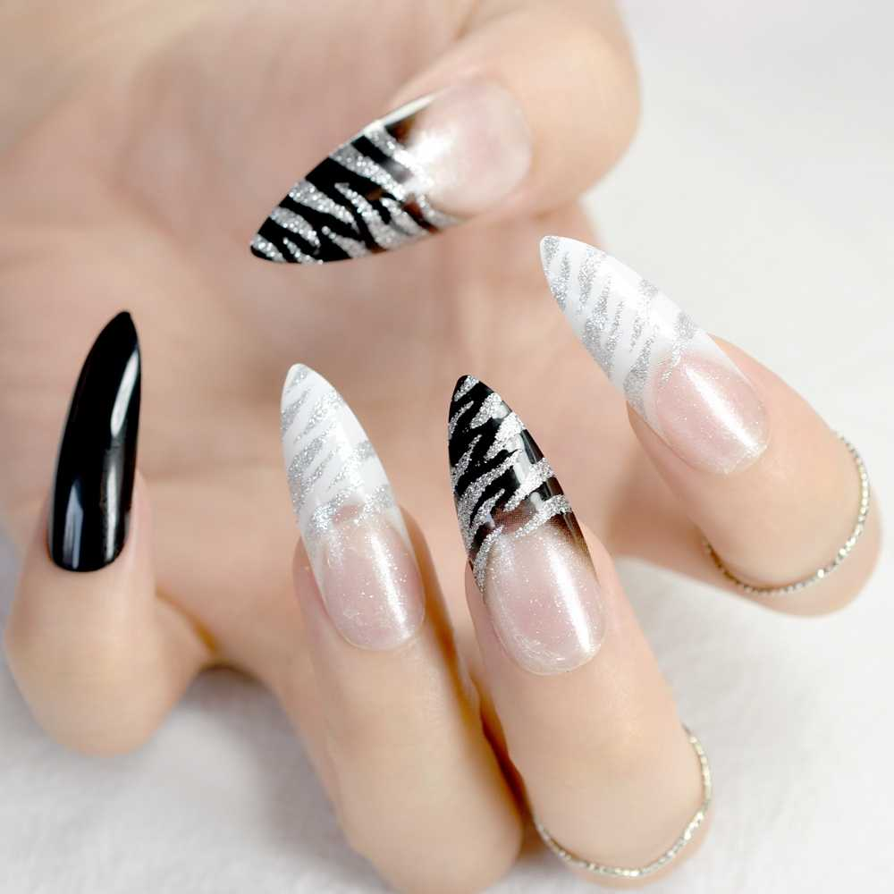Long Stiletto Nail Tips White Black Zebra Pattern French False Nails With Silver Glitter Sharp Fake Nail Arts For Salon Party