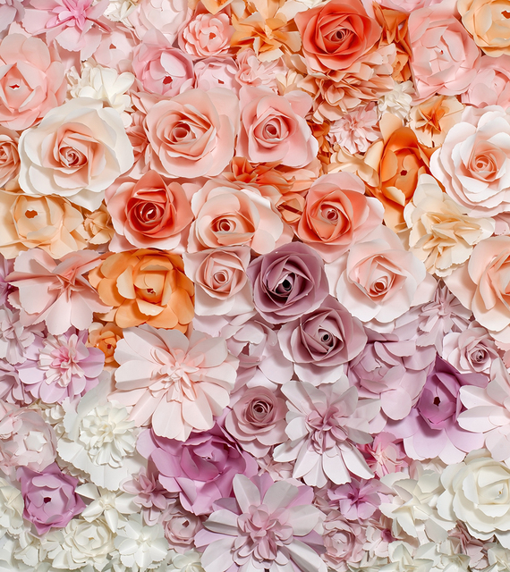 Digital Printed Pink Coral Cream Roses Floral Backgrounds For Photo